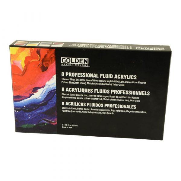 Golden 8 Professional Fluid Acrylic Paint Set