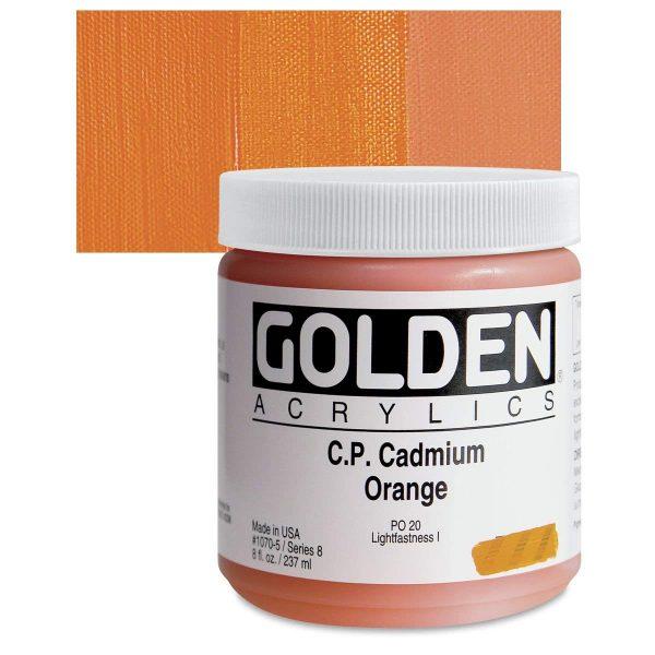 Golden Heavy Body Acrylic Paints 236ML C.P. Cadmium Orange