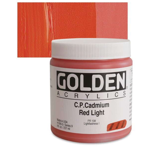 Golden Heavy Body Acrylic Paints 236ML C.P. Cadmium Red Light