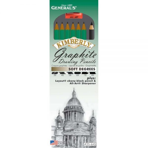 General Pencil Gen-25-6AS Kimberly Soft Graphite Drawing Pencil Set