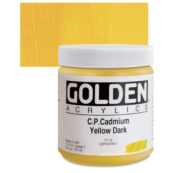Golden Heavy Body Acrylic Paints 236ML C.P. Cadmium Yellow Dark