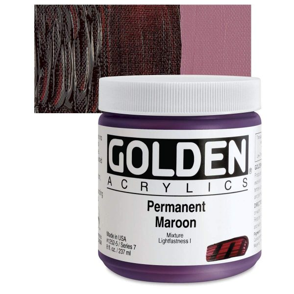 Golden Heavy Body Acrylic Paints 236ML Permanent Maroon