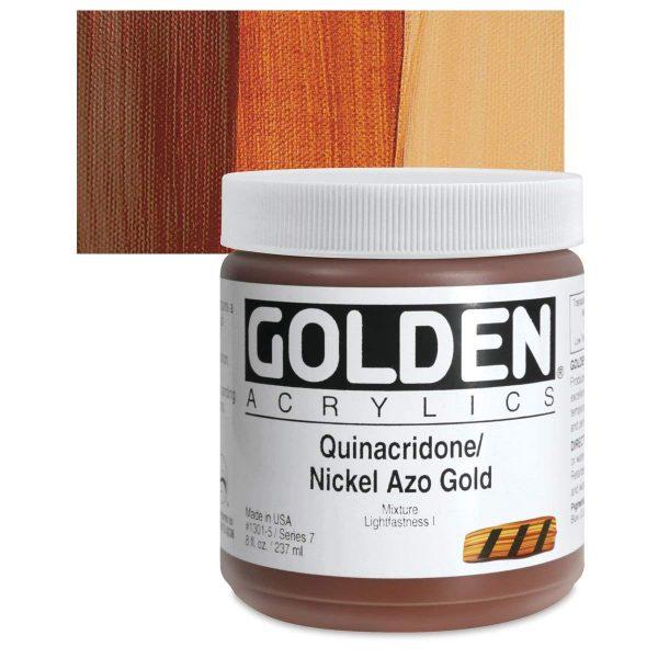Golden Heavy Body Acrylic Paints 236ML Quinacridone Nickel Azo Gold