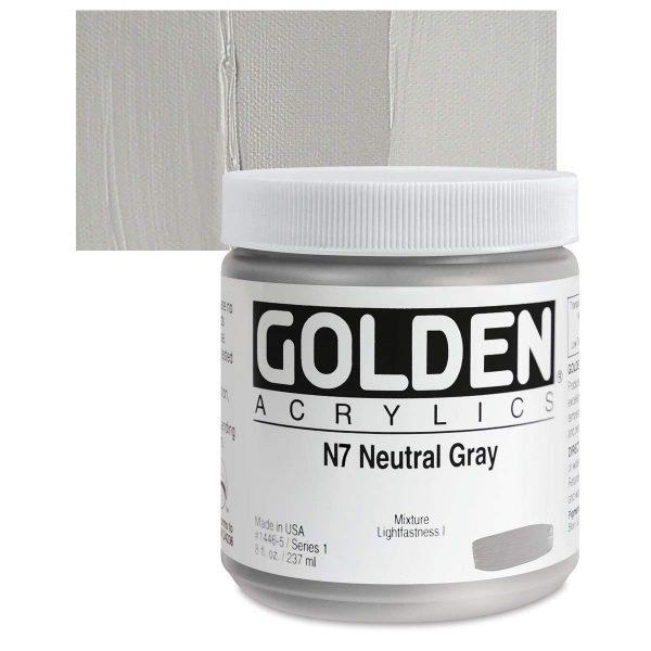 Golden Heavy Body Acrylic Paints 236ML Neutral Gray N7