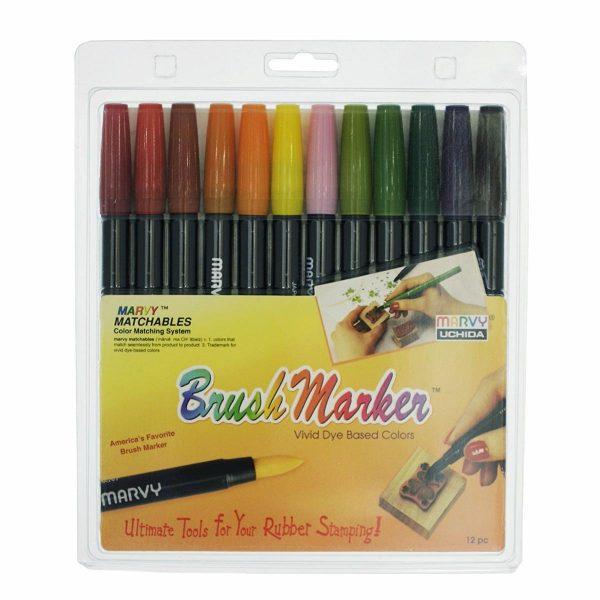 Uchida 1500-12F 12-Piece Gardeny Brush Marker Set
