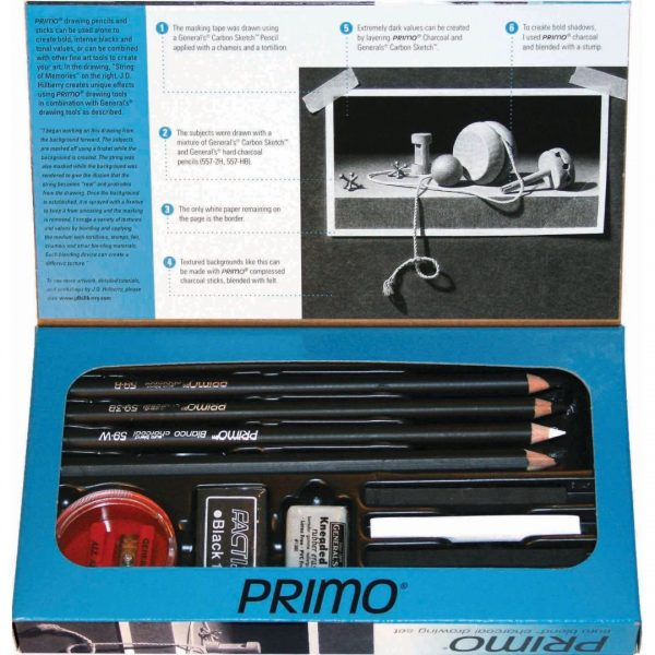 General's ® Primo ® Euro Blend ™ Charcoal Drawing Set - Art Set of 12 Pieces