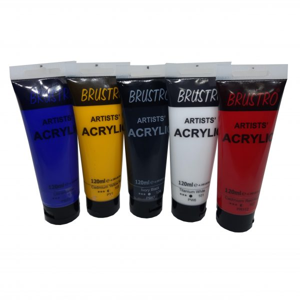 Brustro Arists' Acrylic 120ml, Pack of 5 Primary Shades
