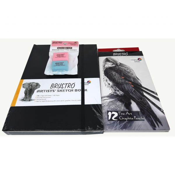 BRUSTRO ARTISTS' FINEART GRAPHITE PENCIL SET OF 12 (10B-2H), with Brustro Dust Free eraser and Brustro Stitched bound sketch book A5