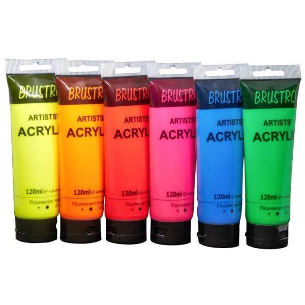 Brustro Arists' Acrylic 120ml, Pack of 6 Flourescent Shades