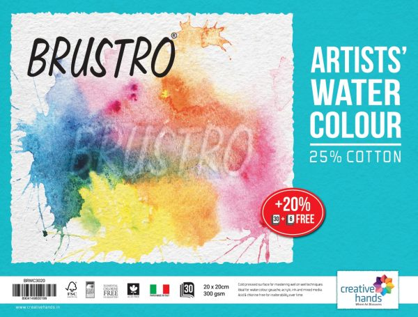 Brustro Watercolour Papers CP 300 GSM 20CM X 20CM (Pack of 30+6 Sheets)