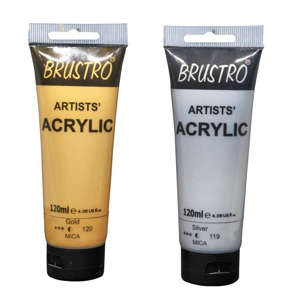 Brustro Arists' Acrylic 120ml, Pack of 2 Shades (Gold & Silver)