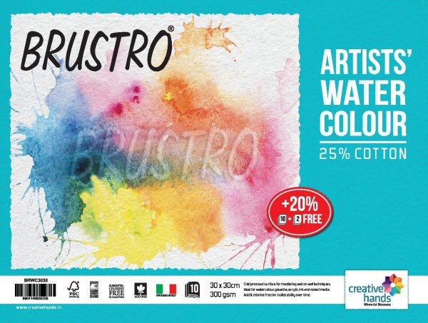 Brustro Watercolour Papers CP 300 GSM 30CM X 30CM (Pack of 10+2 Sheets)