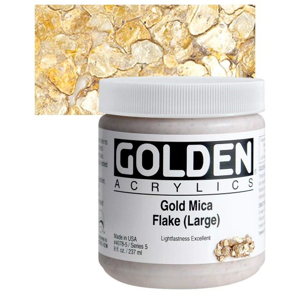 Golden Heavy Body Acrylic Paints 236ML Gold Mica Flakes (Large)