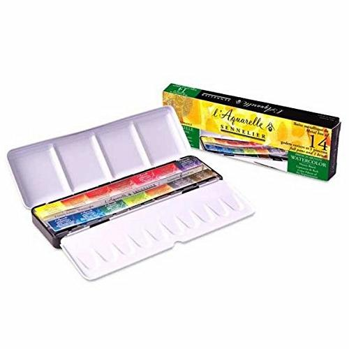 Sennelier l'Aquarelle French Artists' Watercolor Set - Metal Box of 14 Full Pans