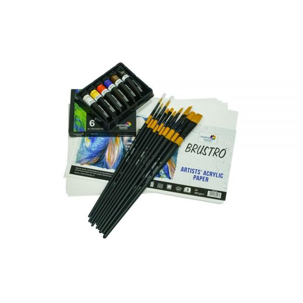 Brustro Artists' Acrylic Colour Set of 6 Colours X 12ML Tubes With Gold Taklon Brush and Artists Acrylic Paper 400 GSM A4