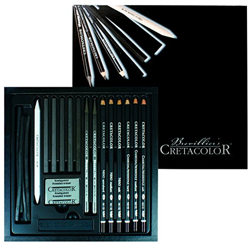 Cretacolor Black Box Charcoal Drawing Set of 20 - Wooden Box