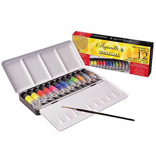 Sennelier l'Aquarelle French Artists' Watercolor Set - Metal Box of 12 Tubes