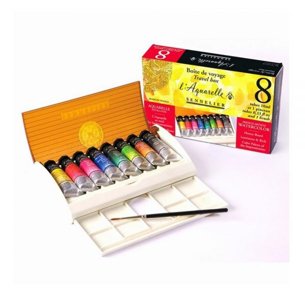 Sennelier l'Aquarelle French Artists' Watercolor Set - Travel Box of 8 Tubes