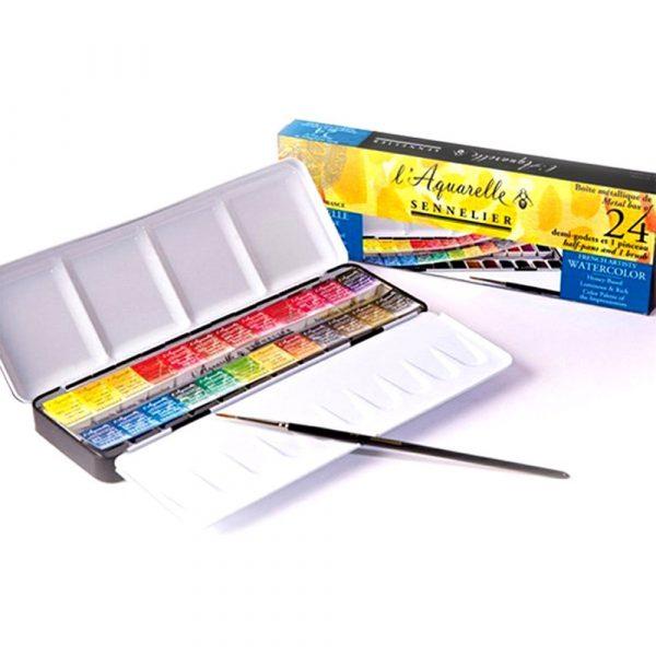 Sennelier l'Aquarelle French Artists' Watercolor Set - Metal Box of 24 Half Pans