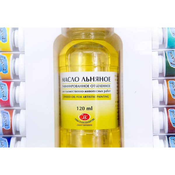 Nevskaya Palitra Ladoga Oil Gift Set: 12 x 18 ml Tubes, 2 Nevskaya Palitra Brushes, 120 ml Linseed Oil for Artistic Painting