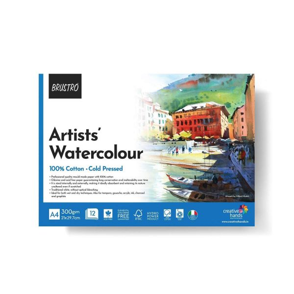 BRUSTRO Artist 100% Cotton Watercolour Pad Cold Pressed 300 GSM A4-12 Sheets
