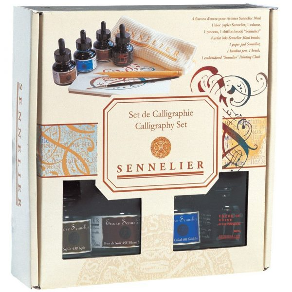 Sennelier Artists Ink Set Of 4 Colors ( Includes Four 30ml bottle one of each color , 1 brush ,1 Bamboo pen , 1 embroidered Sennelier cloth and 1 paper pad 7 x 7 inches)