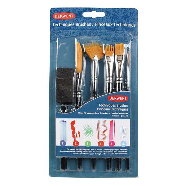 DERWENT Technique Brush Set with 6 Assorted Brush Designs