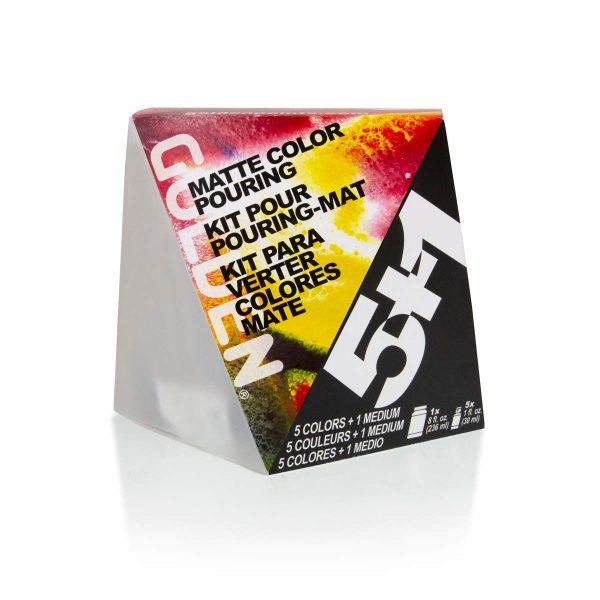 GOLDEN Matte Color Pouring Medium Set w/ 5 Fluid Acrylic Colors