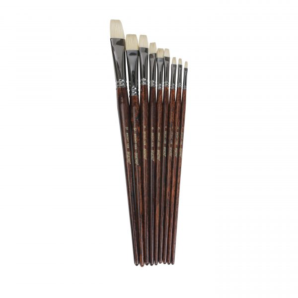 Brustro Artists Bristle White Bright Brush Series 1008 Set of 9