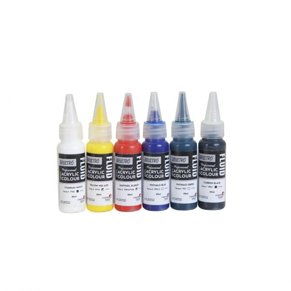 Brustro Professional Artists Fluid Acrylic 20 ml Primary Colours Pack of 5 + 1 Free