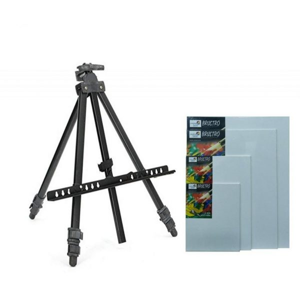 Brustro Artists' Portable Lightweight Metal Easel Canvas Combo