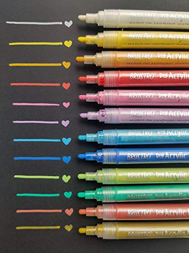 Brustro DIY Acrylic Marker ( Set of 12 vibrant colours)
