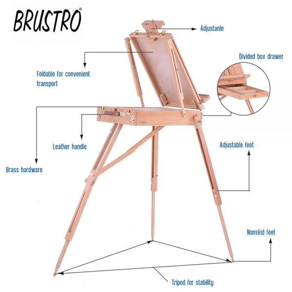 Brustro Artists' Studio Portable Wooden Box Easel