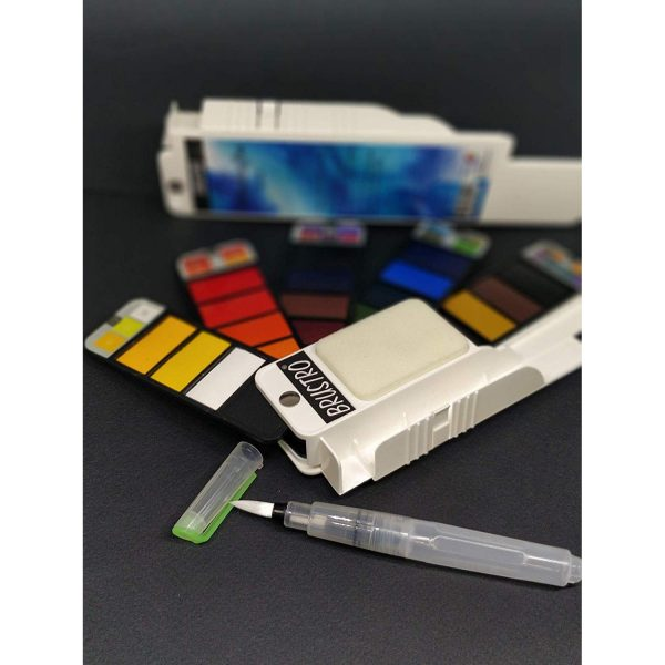 BRUSTRO Artists' Watercolour Pan set Of 25 , ( Free Brustro Watercolour paper 14X21 cm worth Rs. 198 )
