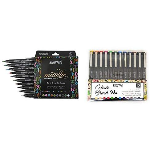 BRUSTRO Metallic Brush Pens - Soft Brush Tip Set of 10 Colors. WITH Colour Brush Pens Set of 12 (Pigment based, Hard tip brush pen) Flexible tip for calligraphy, lettering and drawing techniques.