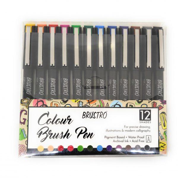 BRUSTRO Colour Brush Pens Assorted Set of 12