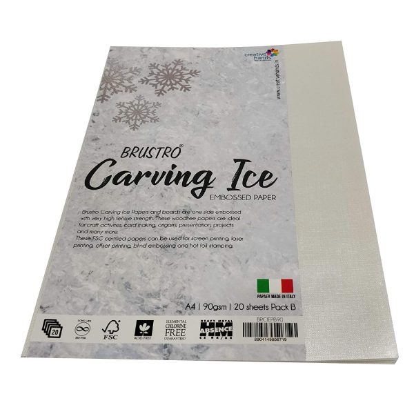 BRUSTRO Carving ICE Embossed Paper A4 90GSM Pack of 2 (20 Sheets Each) (OPEN STOCK)
