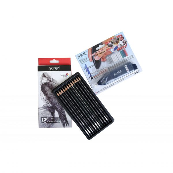 Brustro Battery Operated Automatic Eraser with Brustro Artists' Fineart Graphite Pencil Set of 12