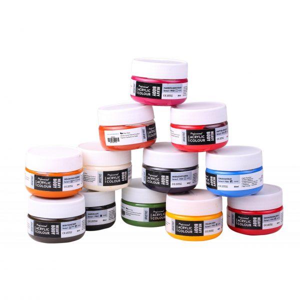 Professional Artists' HEAVYBODY Acrylic Paint Packs - 50ML Pack of 12 C