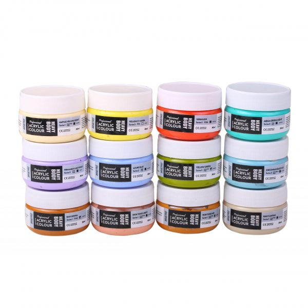 Professional Artists' HEAVYBODY Acrylic Paint Packs - 50ML Pack of 12 - Pastels