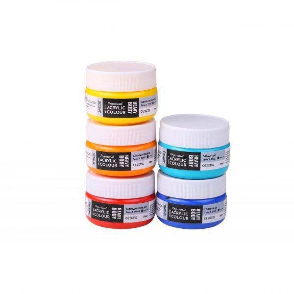 Professional Artists' HEAVYBODY Acrylic Paint Packs - 50ML Pack of 5 - Cadmium & Cobalts