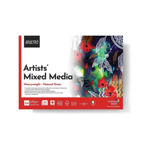 BRUSTRO Artists' Mixed Media Glued Pad 250 GSM A4-20 Sheets