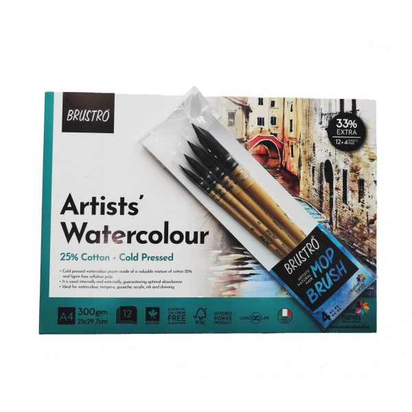 BRUSTRO Artists' Natural Hair MOP Brush Set of 4 (0, 2, 4, 8) with Artist Watercolour Pad Cold Pressed 300 GSM 25% Cotton A4 - (12 + 4 Free Sheets)