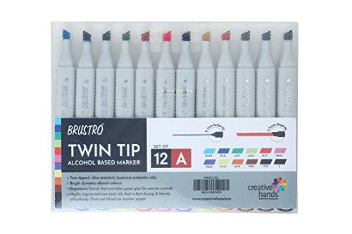 Brustro Twin Tip Alcohol Based Marker Set of 12 - Basic A