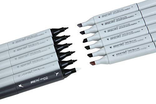 Brustro Twin Tip Alcohol Based Marker Set of 12 - Cool & Warm Greys