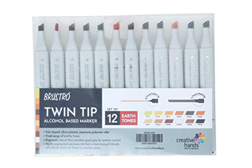 Brustro Twin Tip Alcohol Based Marker - Earth Tones (Set of 12)