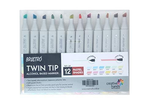 Brustro Twin Tip Alcohol Based Marker Set of 12 - Pastel Tones