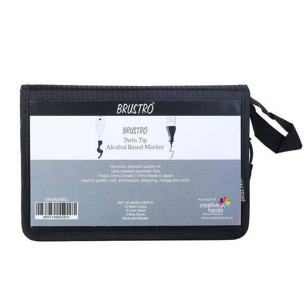 Brustro Twin Tip Alcohol Based Marker with an Elegant Marker Wallet - Mixed Greys (Pack of 24)