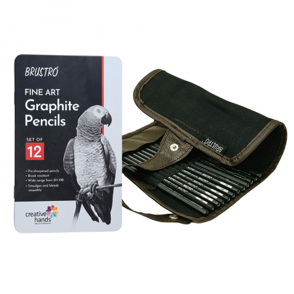 Brustro Artists' Fineart Graphite Pencil Set of 12 (10B-2H) with 2 Brustro ECO-PVC Dust-free erasers and Brustro Pencil wrap (24 Slots) Canvas Roll Up Carry Case