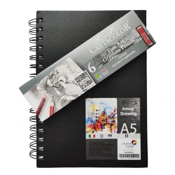 Brustro Artists' Sketch Book Wiro Bound A5-160 GSM, 116 Pages (Acid Free) with Cretacolor Cleos Fine Art Graphite Pencils Set of 6 in an Elegant Tin Box (1 of Each HB, 2H, 2B, 4B, 6B & 8B.)